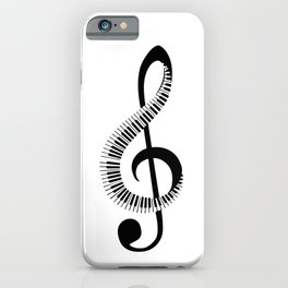 Treble clef sign with piano keyboard iPhone Case