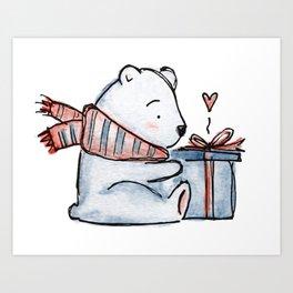 Christmas gift bear Art Print