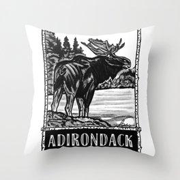 'ON THE LOOSE' Original Adirondack Decor, Moose Drawing, Mountains Wall Art Decor Throw Pillow