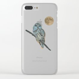 Owl, See the Moon (Barred Owl) Clear iPhone Case