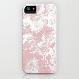 Girly trendy pink coral white lace floral iPhone Case