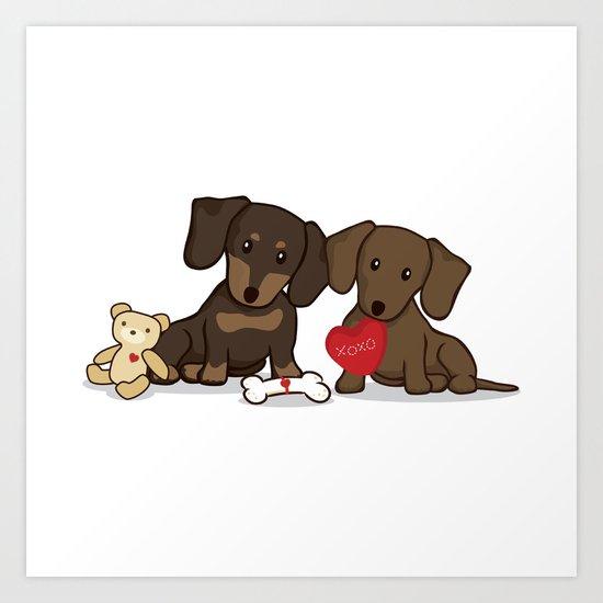 Valentine's Day Love Daschund Illustration Art Print