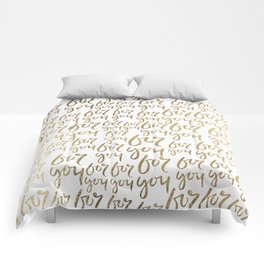 Modern faux gold white minimalist for you typography Comforters