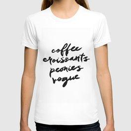 coffee croissants peonies T-shirt