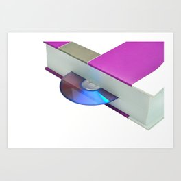 audiobook concept book with compact disk dvd stereo Art Print