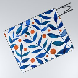 Watercolor berries and branches - blue and orange Picnic Blanket