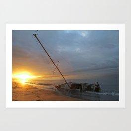 "Sail Boat ""STRANDED SUNRISE""  Art Print"
