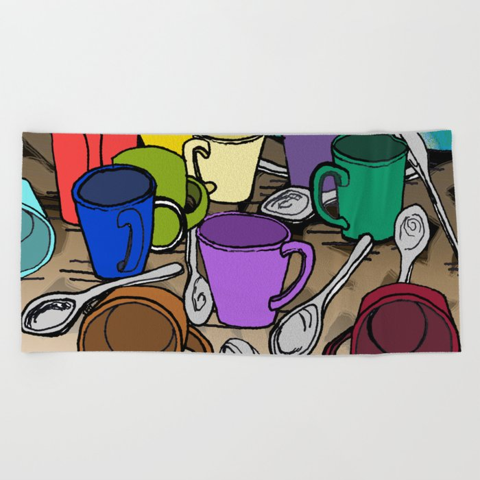 Cups and Spoons Beach Towel