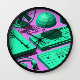 Low Poly Studio Objects 3D Illustration Wall Clock