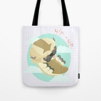 aang Tote Bags featuring Appa - Avatar the legendo of Aang by Manfred Maroto