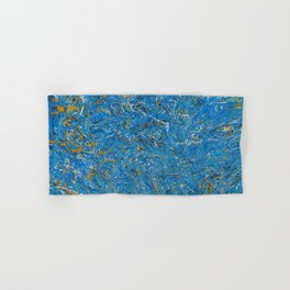 Blue and Gold marbled stone Hand & Bath Towel