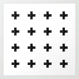 Watercolor Swiss Cross (White) Art Print