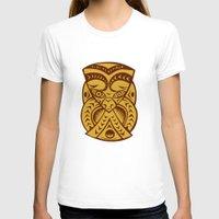 maori T-shirts featuring Maori Mask Woodcut by patrimonio