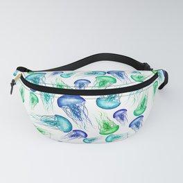 Bluegreen Jellyfish Watercolor Art Fanny Pack