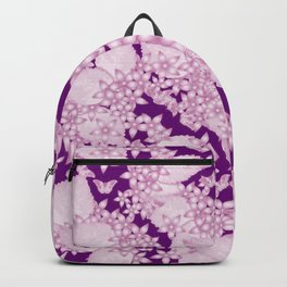 Pink blossoms and butterflies on purple Backpack