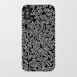 Homage to Keith Haring Black iPhone Case