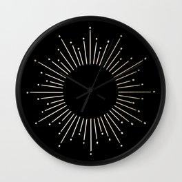 Sunburst White Gold Sands on Black Wall Clock