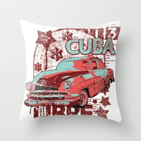 cuba Throw Pillows featuring Cuba Libre by Tshirt-Factory