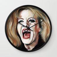 brad pitt Wall Clocks featuring Queen of Vampires, Ingrid Pitt. by Handley