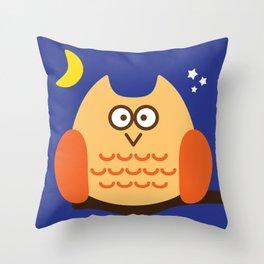 Owlie at night Throw Pillow