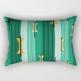 Groovy Lined Mid Century Modern Turquoise Rectangular Pillow