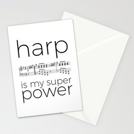 Harp is my super power (3) (white) Stationery Cards