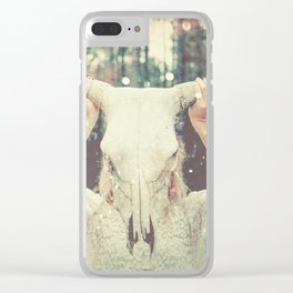 Bull Skull Tribal Woman Clear iPhone Case