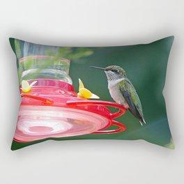 Perched Hummingbird Rectangular Pillow