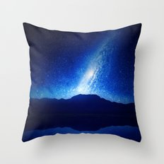 Blue Milky Way Sky Throw Pillow