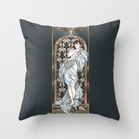 scandal Throw Pillows featuring A Scandal in Belgravia - Mucha Style by Alessia Pelonzi