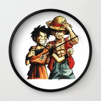 luffy Wall Clocks featuring Monkey D. Luffy and Son Goku by The Big Duo