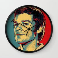 dexter Wall Clocks featuring Dexter by Above & Beyond Graphic Studios