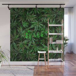 Just green - cannabis plant leaves #society6 Wall Mural