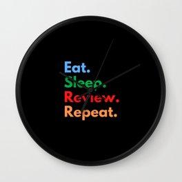 Eat. Sleep. Review. Repeat. Wall Clock