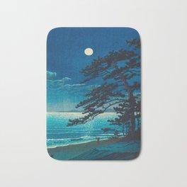 Vintage Japanese Woodblock Print Moonlight Over Ocean Japanese Landscape Tall Tree Silhouette Bath Mat