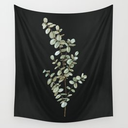 Baby Blue Eucalyptus Watercolor Painting on Charcoal Wall Tapestry