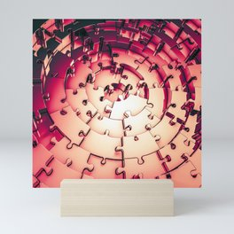Metal Puzzle RETRO RED / 3D render of metallic circular puzzle pieces Mini Art Print