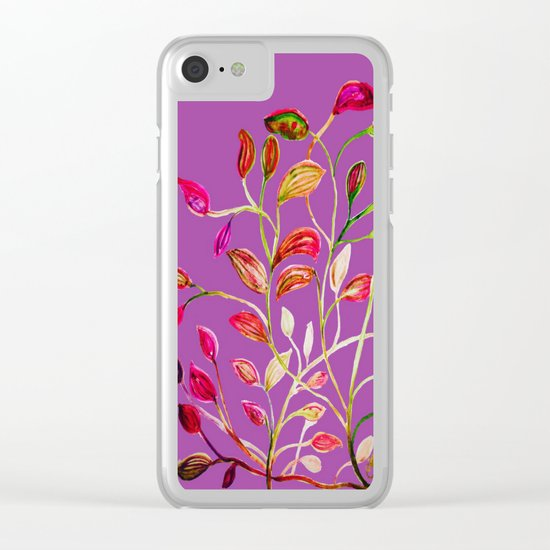 For Valentine's Day Enjoy Purple Plum, Red and Green Leaves!  Clear iPhone Case