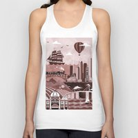 travel poster Tank Tops featuring Melbourne Travel Poster Illustration by ClaireIllustrations