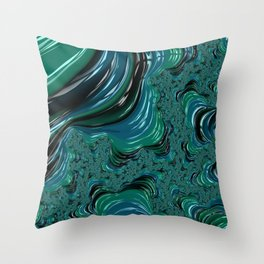 Blue and Turqouise Fractal Throw Pillow