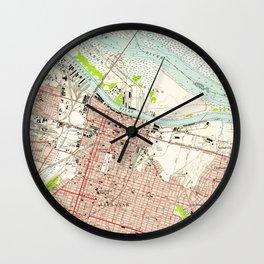 Vintage Map of Savannah Georgia (1955) Wall Clock