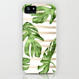 Simply Tropical White Gold Sands Stripes and Palm Leaves iPhone Case