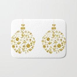 Golden Shimmering Christmas Ornament Bauble Bath Mat