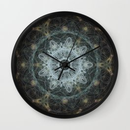 Golden Mandala Web Wall Clock