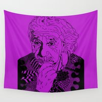 einstein Wall Tapestries featuring Albert Einstein - lilac by Rebecca Bear
