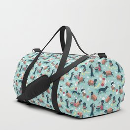 Hot dogs and lemonade // aqua background navy dachshunds Duffle Bag