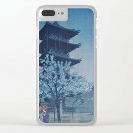 1932 Kasamatsu Shiro Japanese Woodblock Print Pagoda in Evening Rain Clear iPhone Case