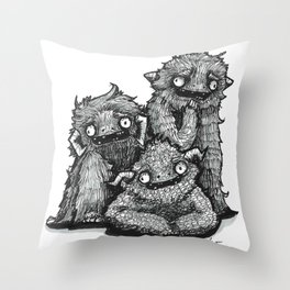 We're a Monster of a Family Ink Illustration Throw Pillow
