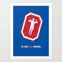 will ferrell Art Prints featuring O is for Old School by Meagan  Hyland