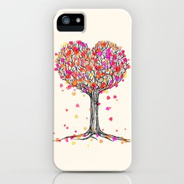 Love in the Fall - Heart Tree Illustration iPhone Case